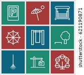 Outdoor Icons Set. Set Of 9...