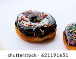 lush donuts with chocolate... | Shutterstock . vector #621191651
