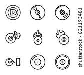 cd icons set. set of 9 cd... | Shutterstock .eps vector #621193481