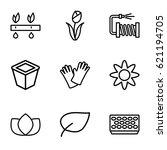 flower icons set. set of 9... | Shutterstock .eps vector #621194705