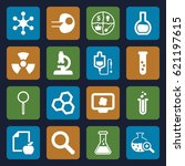 research icons set. set of 16... | Shutterstock .eps vector #621197615