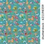 watercolor sea life  seaweed ... | Shutterstock . vector #621198359