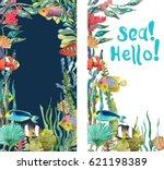 watercolor sea life  seaweed ...   Shutterstock . vector #621198389