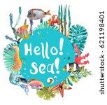 watercolor sea life  seaweed ... | Shutterstock . vector #621198401
