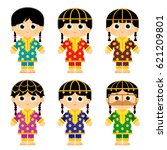 set of girls are wearing an old ... | Shutterstock .eps vector #621209801