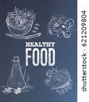 healthy food set.salad olive... | Shutterstock . vector #621209804