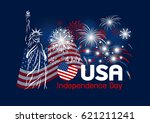 vector 4 july independence day... | Shutterstock .eps vector #621211241