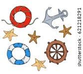 set of seashells  handwheel ... | Shutterstock .eps vector #621218291