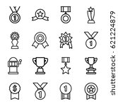 prize icons set. set of 16... | Shutterstock .eps vector #621224879