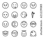 cheerful icons set. set of 16... | Shutterstock .eps vector #621229085