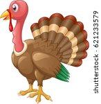 cute turkey cartoon vector... | Shutterstock .eps vector #621233579