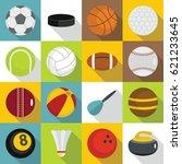 sport balls icons set. flat... | Shutterstock . vector #621233645