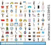 100 working icons set in... | Shutterstock . vector #621238451