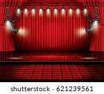 red stage curtain with... | Shutterstock .eps vector #621239561