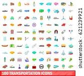 100 transportation icons set in ... | Shutterstock . vector #621239921