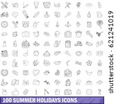 100 summer holidays icons set... | Shutterstock . vector #621241019