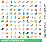 100 recreation icons set in... | Shutterstock . vector #621242669