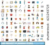 100 project planning icons set