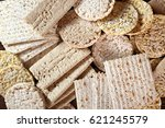 different types of crispbread....   Shutterstock . vector #621245579