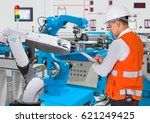 engineer checking maintenance... | Shutterstock . vector #621249425
