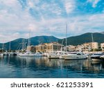 yacht porto montenegro. elite... | Shutterstock . vector #621253391