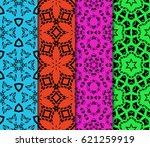 set of ornamental flower design.... | Shutterstock .eps vector #621259919