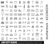 100 city set in outline style... | Shutterstock . vector #621260234