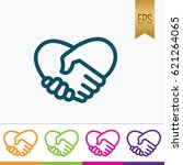 handshake heart icon flat...   Shutterstock .eps vector #621264065