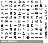 100 auto icons set in simple... | Shutterstock . vector #621265844