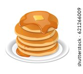 fresh tasty hot pancakes with... | Shutterstock .eps vector #621266009