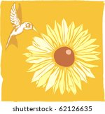 Woodcut of a hummingbird and a flower. - stock vector