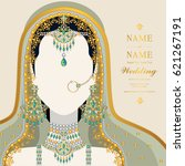 wedding invitation card... | Shutterstock .eps vector #621267191