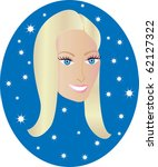 Raster version blond happy girl with blue background. Great for personalization, see many other faces with different looks. - stock photo