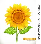 sunflower 3d vector icon