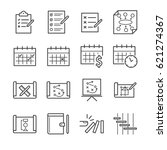 plan and schedule line icon set.... | Shutterstock .eps vector #621274367