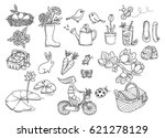 spring doodle isolated on white ... | Shutterstock .eps vector #621278129