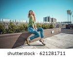 beautiful fashion woman wearing ...   Shutterstock . vector #621281711