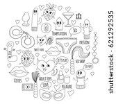 doodle humorous vector sextoys...   Shutterstock .eps vector #621292535