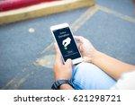 online donation.hipster man... | Shutterstock . vector #621298721