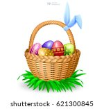 happy easter greeting... | Shutterstock .eps vector #621300845