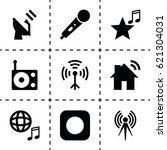 radio icon. set of 9 radio... | Shutterstock .eps vector #621304031