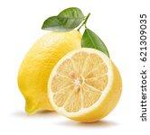 lemons isolated on a white... | Shutterstock . vector #621309035