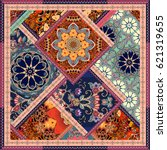 patchwork pattern with flowers  ... | Shutterstock . vector #621319655