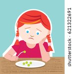 picky young girl who is a fussy ... | Shutterstock .eps vector #621322691
