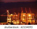 port warehouse with cargoes and ... | Shutterstock . vector #62134093