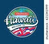hawaii creative tourism logo | Shutterstock .eps vector #621341999
