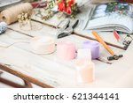 the florist desktop with... | Shutterstock . vector #621344141