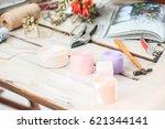 the florist desktop with... | Shutterstock . vector #621344141