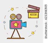 video camera with clapper board ... | Shutterstock .eps vector #621346505