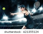 beautiful sport woman tennis... | Shutterstock . vector #621355124